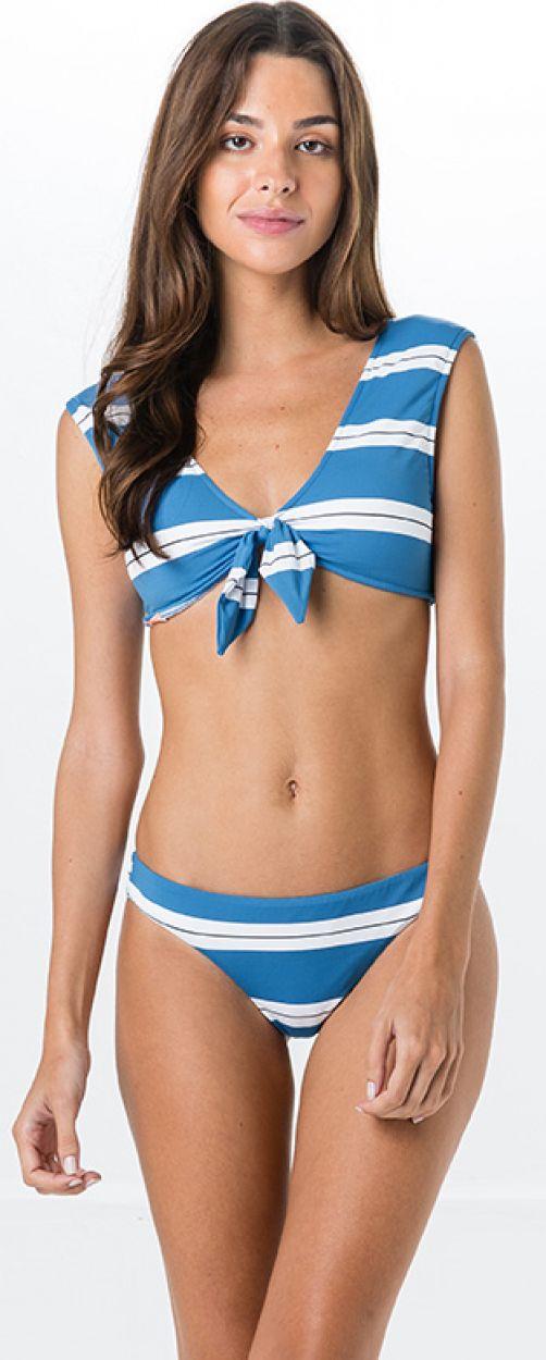 Randig bikini i blått/vitt, BH med knytning fram - MIRACLE SPORT BLUE