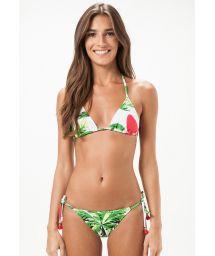 Floral Brazilian swimsuit with decorative accessories - MOGI GUAÇU
