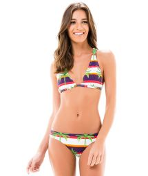 Racerback triangle bikini, striped with palm trees - NOVA MIRACLE RIVER