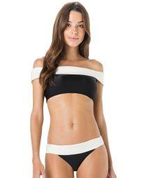 Bikini crop top off shoulder bicolore noir/blanc - PALA LISO BICOLOR