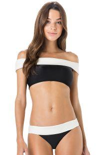 Biquíni de top olímpico de ombros nus bicolor preto/branco - PALA LISO BICOLOR