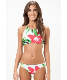 Bikini with floral crop top, cross-over back - PARAISO
