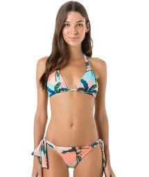 Trekants-halter bikini i tropiskt pastelltryck - PASSADOR BRISA