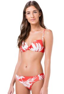 Bikini balconet tropical rojo e blanco - PIQUIRI