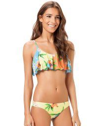 Sports bra bikini with floral printed frill - PIRACICABA