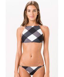 Two-tone large checked crop-top bikini - PRETO E BRANCO