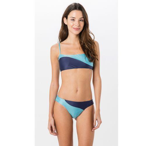 BH-bikini med trykk lyse- og mørkeblå - RECORTE SOLIDS