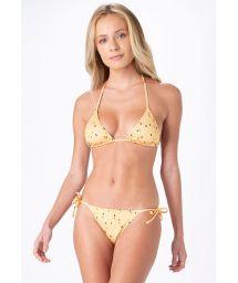 Yellow side-tie bikini in rectangular print - ROLETE DROPS