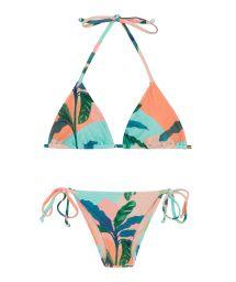 Side-tie Brazilian bikini in tropical pastel - ROLOTE BRISA