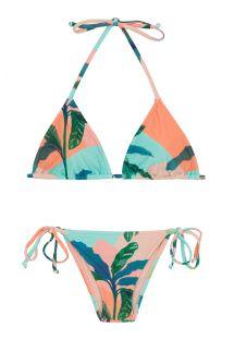 Бразильское бикини с завязками на боку в тропический принт пастельного цвета - ROLOTE BRISA