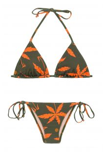 Two-tone side-tie Brazilian bikini pattern palm trees - ROLOTE SWIM KAKI