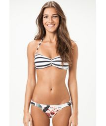 Swimsuit with striped bandeau, floral bottom - SACRAMENTO