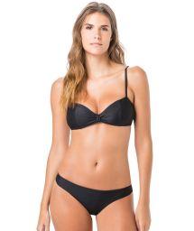 Bandeau-Bikini texturiert, Träger verstellbar - SUMMER LISO CLOQUE PRETO