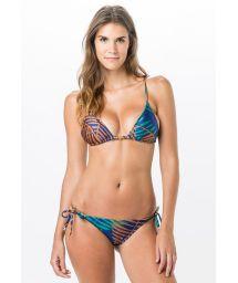 Tropical print side-tie bikini with triangle top - TRIANGULO GROOVE