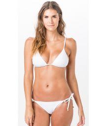 Textured white side-tie scrunch bikini with triangle top - TRIANGULO LISO CLOQUE BRANCO