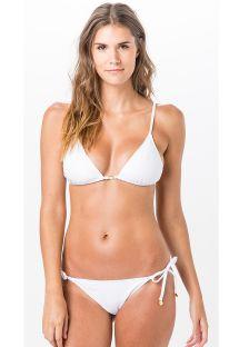 Getextureerde witte bikini van kreukelstof, top met driehoekige cups en broekje met touwtjes - TRIANGULO LISO CLOQUE BRANCO