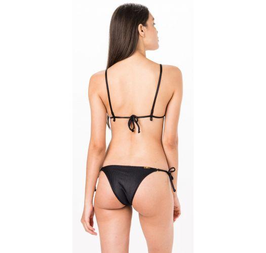 Black ribbed triangle bikini - TRIANGULO PRETO LISO CANELADO