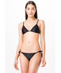 Schwarzer geriffelter Triangel-Bikini - TRIANGULO PRETO LISO CANELADO