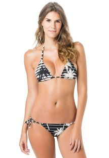 Bi-color triangle bikini in stripes and palm trees - TRIANGULO ROLLER