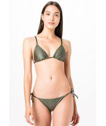 Bikini triangle kaki tissu côtelé - TRIANGULO VERDE LISO CANELADO