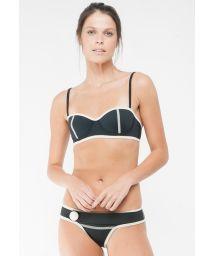 Black neoprene retro-style balconette bra bikini - LENA JACKIE