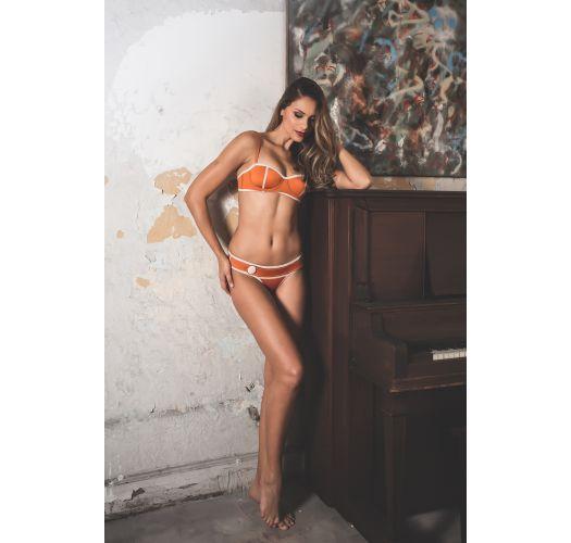 Bikini balconnet néoprène orange style rétro - LENA SOPHIA
