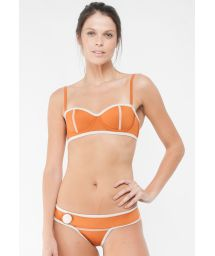Retro style orange neoprene pushup bikini - LENA SOPHIA