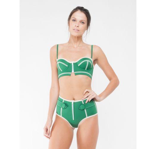 Bikini taille haute et balconnet néoprène vert - NINA BRIGITTE