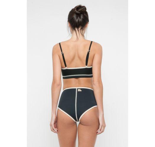 High-waisted bikini and black neoprene balconette bra - NINA JACKIE