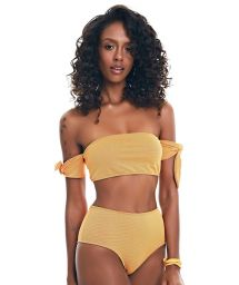 Textured dark gold high waisted bikini - BIKINI HIGH RISE