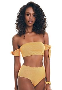 Textured dark gold high waisted bikini - BIKINI HIGH RISE