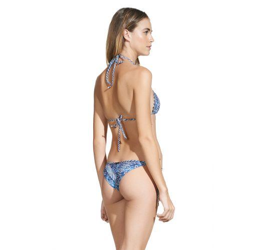 Blue printed Brazilian bikini with decorative beadwork - HAZEL TIE