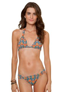 Orange/blue printed triangle halter bikini - TAJIK