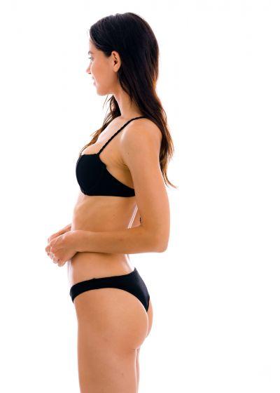 Bikini balconnet noir texturé et tanga fixe - SET ST-TROPEZ-BLACK BALCONET ESSENTIAL