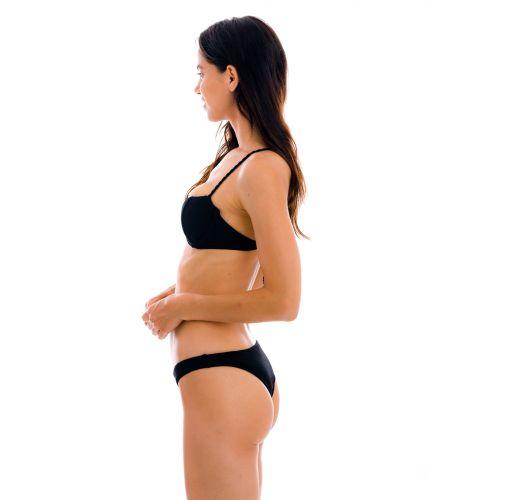 Textured black balconette bikini with crossed straps - SET ST-TROPEZ-BLACK BALCONET ESSENTIAL