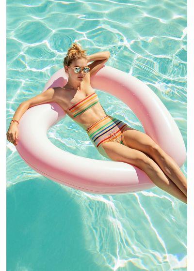 Nudefarbener High-Waist-Bikini buntgestreift - MILAGRES RAINBOW STRIPES NUDE