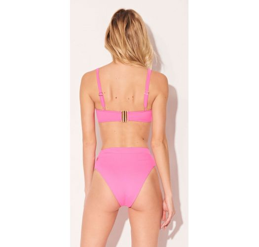 Pink high-waisted bikini with underwired balconette top - ALTO ROSA