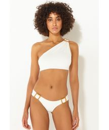 Asymmetrischer Luxus-Crop-Top-Bikini in Ecru - ASSIMETRIA OFF-WHITE