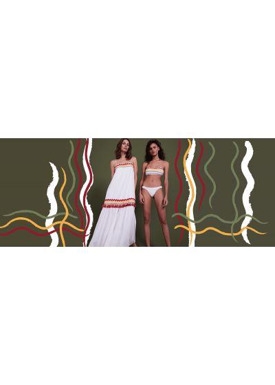 White bandeau bikini with embroidered colorful braids - BAND OFF