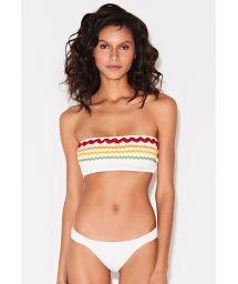Bikini bandeau blanc galons colorés brodés - BAND OFF