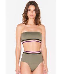 Khaki high waisted bandeau bikini with elastic band - BAND VERDE