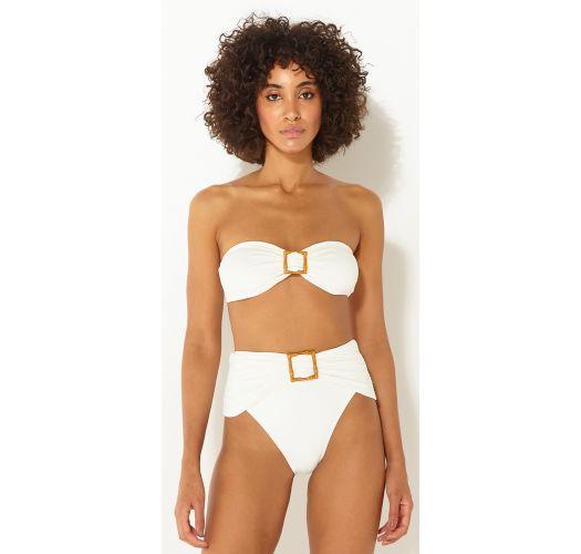 Accessorized luxurious high-waisted bikini - BANDEAU OFF WHITE
