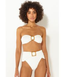 Luxuriöser High-Waist-Bandeau-Bikini in Ecru - BANDEAU OFF WHITE