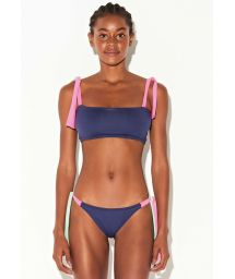 Navy bandeau bikini with neon green and pink ties - BANDEAU TRICOLOR