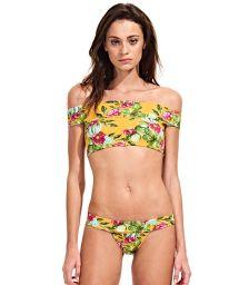 Retro floral off shoulder crop top bikini - CACTUS FLORAL