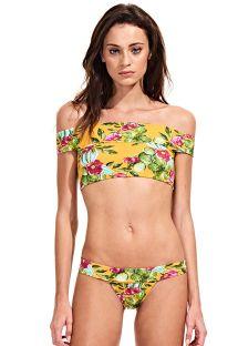 Retro stili çiçek desenli çıplak omuz crop top bikini - CACTUS FLORAL