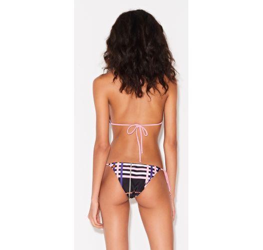 Bikini brasiliano stampa gtafuca con lacci rosa - CORTININHA REV XADREZ PRETO