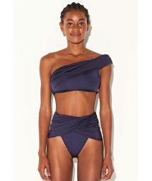 Luxury navy blue one-shoulder crop top bikini - FESTA CROPPED MARINHO