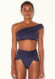 Luxury navy blue one-shoulder crop top bikini - FESTA CROPPED MARINHO