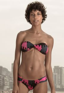 Tri-color geometric luxury bandeau bikini - GEOMETRIC NEON
